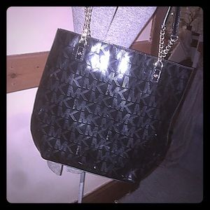 Michael Kors Black Mirror Chain Shoulder Bag